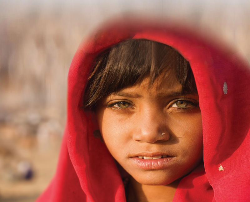 Face of a girl from Piplantri, the Rajasthan village where 111 trees are planted for every woman born there.