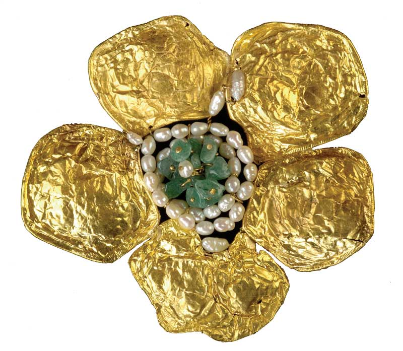 Flower of Baudlaire 10 x 8 gold 24k semi-precious stones.