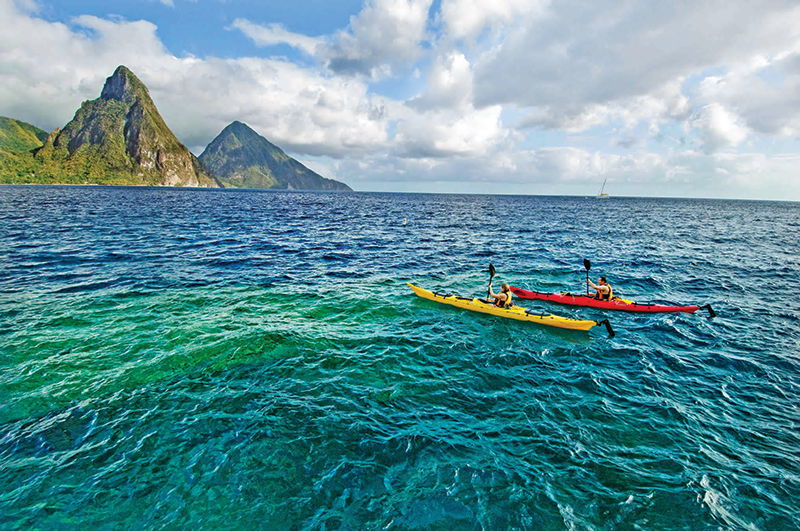 Kayaking is practiced in the Caribbean  Sea.