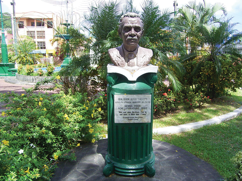 Bust at Derek Walcott Square
