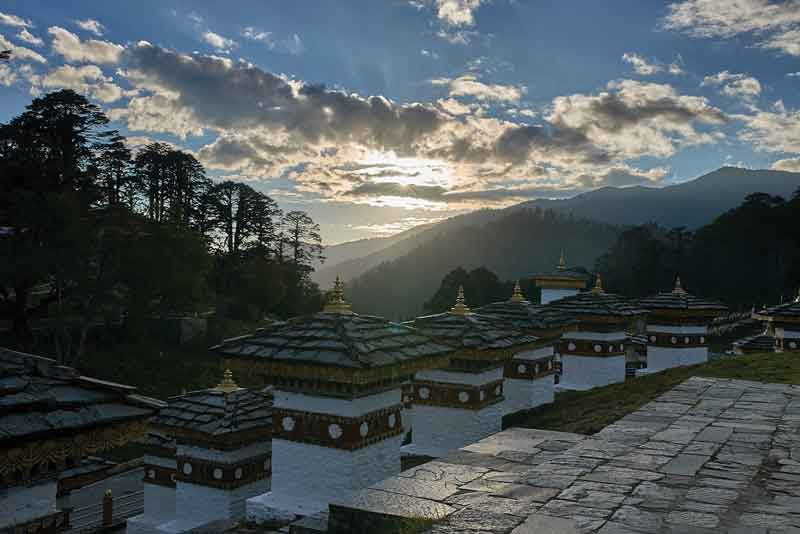 Chortens are located on Dochula Pass, Thimphu, Bhutan.