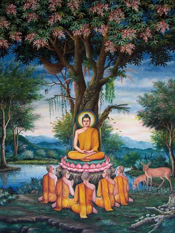 The teachings of Buddha began with the Sermon at Benares