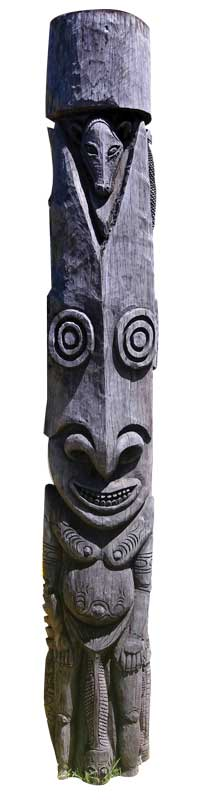 Ancient wood sculpture at the National Museum of Fiji.