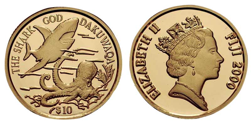 Commemorative coin depicting Dakuwaqa, the shark god, and Queen Elizabeth II of England.