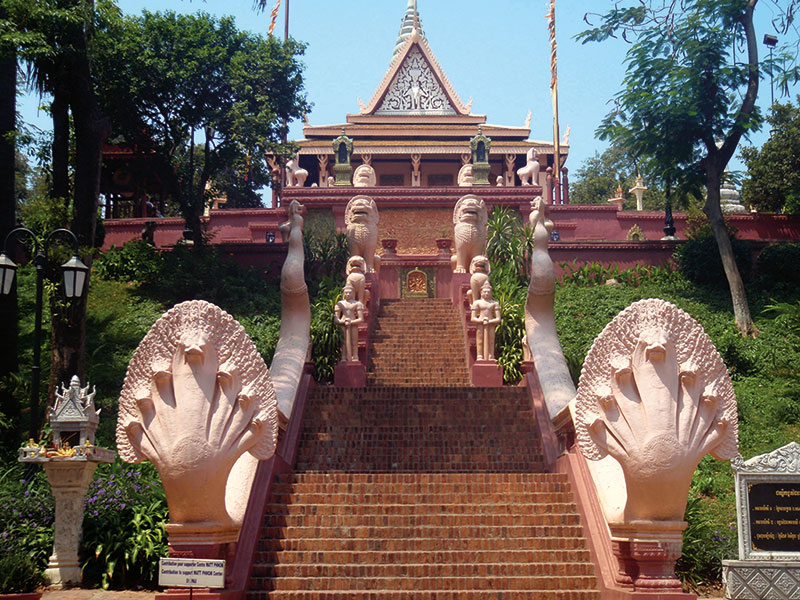 Amura, Camboya, Cambodia, The Wat Phnom temple is located in the center of the city; it was built in 1372.