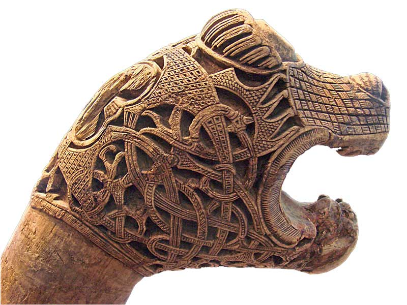 Amura,Dinamarca,Denmark,Vikingos,Escandinavia, Animal head discovered in a burial chamber at the Viking ship of Oseberg, Norway.